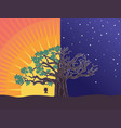 big tree and girl on swing silhouette vector image vector image