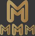 Bronze line m logo design set vector image vector image