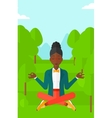 Business woman meditating in lotus pose vector image vector image