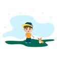 cartoon funny little boy vector image
