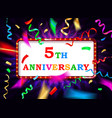 colorful 5 date celebration background vector image vector image