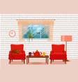 colorful cozy interior warm bright winter vector image vector image