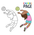 coloring page with woman volley ball player vector image vector image