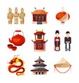 culture icons set traditional chinese elements vector image vector image