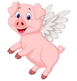 Cute pig cartoon flying vector image vector image