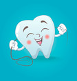 cute tooth concept background cartoon style vector image vector image