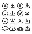 download file icon set vector image vector image