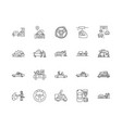 driving line icons signs set outline vector image vector image