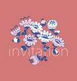 flowers hand drawn invitation template vector image vector image
