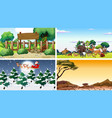 four different scenes with animals vector image vector image
