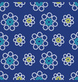 geometric flowers seamless pattern on a navy blue vector image vector image