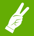 hand showing victory sign icon green vector image