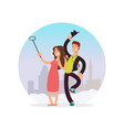 happy couple making selfie cartoon character man vector image