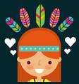 hippie woman cartoon feathers retro vector image