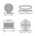 home waffle-iron icon set outline style vector image