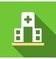 Hospital Building Flat Long Shadow Square Icon vector image vector image