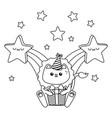 kawaii lion and happy birthday design vector image vector image