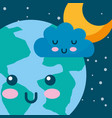 kawaii planet earth cloud and star space cartoon vector image