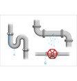 leaking pipe set vector image vector image