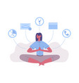 meditation lotus position woman work and rest vector image vector image