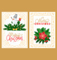 merry christmas greeting card snowman mistletoe vector image vector image