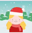 merry christmas little girl with scarf and hat of vector image