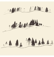 Mountains With Fir Forest Contours Engraving vector image vector image