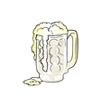 Mug of Beer with Overflowing Foam vector image vector image
