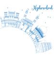 Outline Hyderabad Skyline with Blue Landmarks vector image vector image