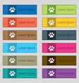 paw icon sign Set of twelve rectangular colorful vector image vector image