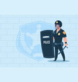 policeman hold shield wearing helmet uniform cop vector image
