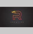 r letter design with golden outline and grunge vector image