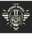 Racer skull in helmet vintage style vector image vector image