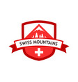 Red logo of swiss mountains