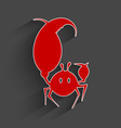 Red paper crab vector image