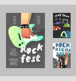 rock festival poster music fest banner template vector image vector image