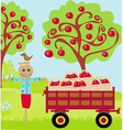 scarecrow and rural landscape vector image
