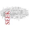 seek word cloud concept vector image vector image