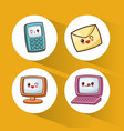 set kawaii device technology communication vector image