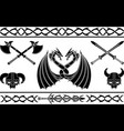 set of fantasy viking signs and patterns vector image vector image