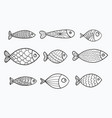 set of stylized fishes collection vector image vector image