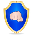 Shield with fist vector image vector image