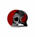 skull is listening to music through headphones vector image