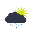 sun icon with rain vector image vector image