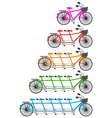 tandem team bikes bicycle set vector image