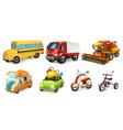 transportation 3d icon set bicycle scooter car vector image vector image