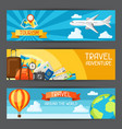 travel banners traveling backgrounds with tourist vector image