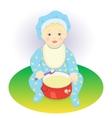 The child eats porridge vector image