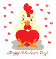 yellow rooster with red heart valentines day vector image