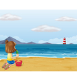 A young girl playing with the sand in the beach vector image vector image